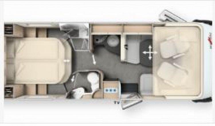 Malibu I 440 QB 4 berth 6.99m motorhome layout